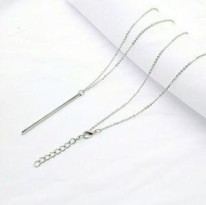 Silver Minimal Bar Necklace Minimalist Bar & Chain